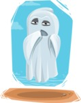 Cute Ghost Cartoon Vector Character AKA Boo Transparento - With Cool Simple Style Background