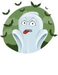 Cute Ghost Cartoon Vector Character AKA Boo Transparento - With Halloween Background with Bats