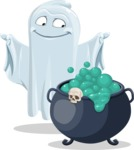Cute Ghost Cartoon Vector Character AKA Boo Transparento - With Halloween Caldron