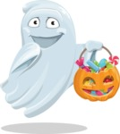 Cute Ghost Cartoon Vector Character AKA Boo Transparento - with Halloween Pumpkin and Candies
