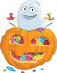 Cute Ghost Cartoon Vector Character AKA Boo Transparento - With Huge Pumpkin full of Treats