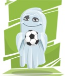 Cute Ghost Cartoon Vector Character AKA Boo Transparento - With Playful Background