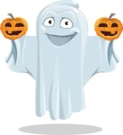 Cute Ghost Cartoon Vector Character AKA Boo Transparento - With Pumpkins