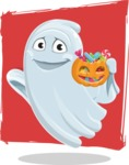 Cute Ghost Cartoon Vector Character AKA Boo Transparento - With Treats on Flat Background