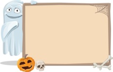 Cute Ghost Cartoon Vector Character AKA Boo Transparento - With Whiteboard on Halloween Theme