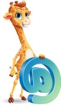Cute Giraffe Cartoon Vector Character - with Email sign