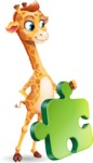 Cute Giraffe Cartoon Vector Character - with Puzzle