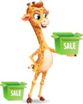 Cute Giraffe Cartoon Vector Character - with Sale boxes