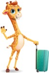 Cute Giraffe Cartoon Vector Character - with Suitcase