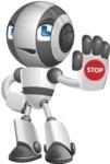 Housekeeping Robot Cartoon Vector Character AKA Glossy - Stop