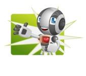 Housekeeping Robot Cartoon Vector Character AKA Glossy - Shape1