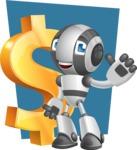 Housekeeping Robot Cartoon Vector Character AKA Glossy - Shape6