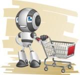 Housekeeping Robot Cartoon Vector Character AKA Glossy - Shape7