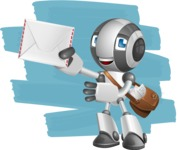 Housekeeping Robot Cartoon Vector Character AKA Glossy - Shape12
