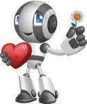 Housekeeping Robot Cartoon Vector Character AKA Glossy - Love