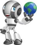 Housekeeping Robot Cartoon Vector Character AKA Glossy - Earth