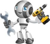 Housekeeping Robot Cartoon Vector Character AKA Glossy - Workman 1