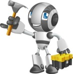 Housekeeping Robot Cartoon Vector Character AKA Glossy - Workman 2