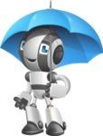 Housekeeping Robot Cartoon Vector Character AKA Glossy - Umbrella