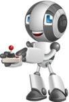 Housekeeping Robot Cartoon Vector Character AKA Glossy - Joystick