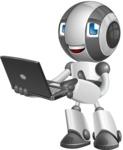Housekeeping Robot Cartoon Vector Character AKA Glossy - Laptop 1