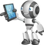 Housekeeping Robot Cartoon Vector Character AKA Glossy - Phone
