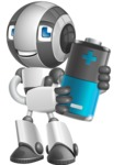 Housekeeping Robot Cartoon Vector Character AKA Glossy - Battery