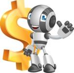 Housekeeping Robot Cartoon Vector Character AKA Glossy - Dollar