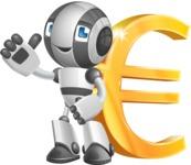Housekeeping Robot Cartoon Vector Character AKA Glossy - Euro