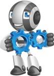 Housekeeping Robot Cartoon Vector Character AKA Glossy - Gears