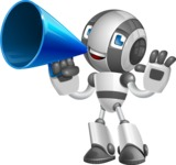 Housekeeping Robot Cartoon Vector Character AKA Glossy - Loudspeaker