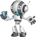 Housekeeping Robot Cartoon Vector Character AKA Glossy - Support