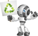Housekeeping Robot Cartoon Vector Character AKA Glossy - Recycling