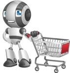 Housekeeping Robot Cartoon Vector Character AKA Glossy - Shopping Cart