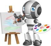 Housekeeping Robot Cartoon Vector Character AKA Glossy - Artist