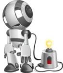 Housekeeping Robot Cartoon Vector Character AKA Glossy - Charging