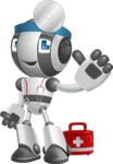 Housekeeping Robot Cartoon Vector Character AKA Glossy - Doctor
