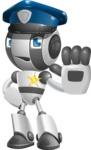 Housekeeping Robot Cartoon Vector Character AKA Glossy - Policeman