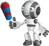 Housekeeping Robot Cartoon Vector Character AKA Glossy - Cleaner
