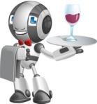Housekeeping Robot Cartoon Vector Character AKA Glossy - Waiter