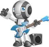 Housekeeping Robot Cartoon Vector Character AKA Glossy - Musician
