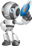 Housekeeping Robot Cartoon Vector Character AKA Glossy - Gun 1