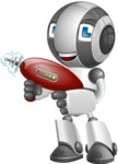 Housekeeping Robot Cartoon Vector Character AKA Glossy - Gun 2