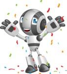Housekeeping Robot Cartoon Vector Character AKA Glossy - Celebrate