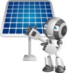 Housekeeping Robot Cartoon Vector Character AKA Glossy - Solar Panel