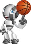 Housekeeping Robot Cartoon Vector Character AKA Glossy - Basketball