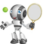 Housekeeping Robot Cartoon Vector Character AKA Glossy - Tennis 1