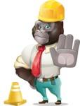 Business Gorilla Cartoon Vector Character - as a Construction worker