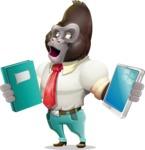Business Gorilla Cartoon Vector Character - Choosing between Book and Tablet