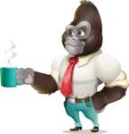Business Gorilla Cartoon Vector Character - Drinking Coffee